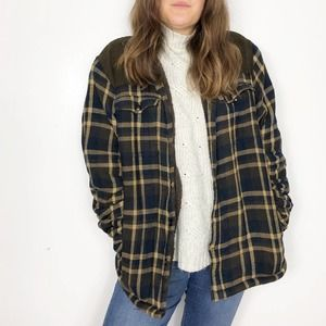COLEMAN | Navy Brown Plaid Sherpa Lined Shacket